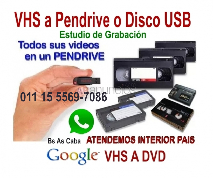VHS Video a Pen Drive o Disco Rigido.