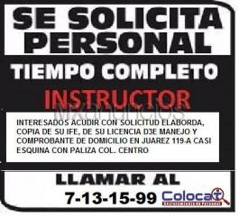 Se solicita Instructor de Manejo