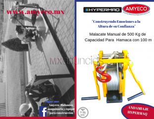 Malacate manual de 500 kg con 50 mts de cable