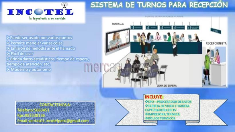 Gestion de turnos con software para recepcion/lima/ garantia