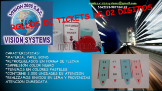Rollos de tickets de 02 digitos vision