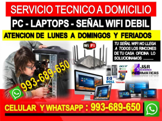 Servicio tecnico a internet Pcs laptops a domicilio